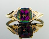 1.38 Carat Mystic Topaz and Diamond 10kt Solid Yellow  Gold Ring