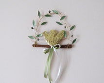 Hanging brass dove/ olive branch / olive wreath / dove wreath/ wall decor / wall ornament / metal / metal work  /wedding gift