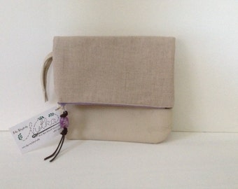 Fold Over Clutch Linen with Recycled Leather Bottom