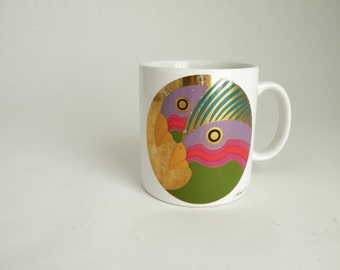 Laurel Burch Vintage Mug Wild Stallions Black Gold and 80s Bright Colors