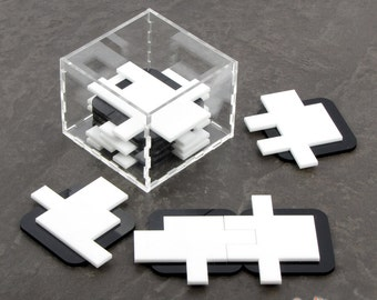 The Nine - Elegant Table Puzzle with Thousands of Solutions - 9 Pieces Laser Cut from Black and White Acrylic - Includes Clear Case