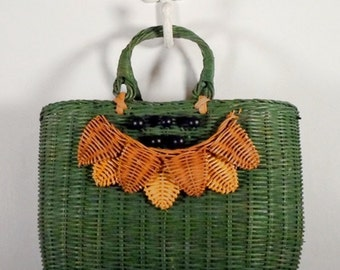 Vintage Green Straw Purse Bag Tote Beads Womens Purse