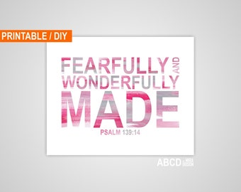 Pink and Grey abstract Digital Nursery Bible verse Fearfully and Wonderfully made. Psalm 139:14, DIY,  INSTANT DOWNLOAD