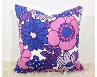 Vintage 1970s Purple Flower Power  Cushion Cover