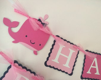 Whale Birthday Banner/Pink and Navy Whale Banner/ Whale Birthday Party/ Customized Whale Banner/ Whale Garland/ Personalized Banner