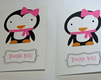 12 Girl Penguin Thank You Notes, Winter Wonderland, Penguin Birthday, Birthday Banner