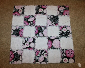 Purple flower Rag Quilt