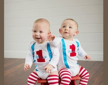 Twin Boys 1st Birthday Outfit-PERSONALIZED BIRTHDAY OUTFIT for Twin Boys...Cake Smash Outfits for Twin Boys-Matching Twin bday Set