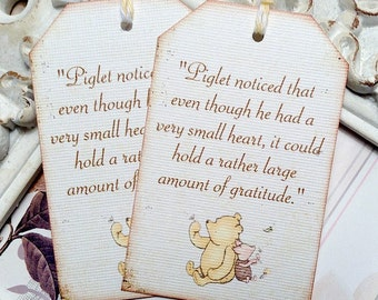 Classic Piglet & Winnie the Pooh Quote Tags - Set of 6 - Pooh Favor Tags-Pooh Baby Shower-Vintage Pooh Tags-Pooh Birthday-Classic Pooh Party