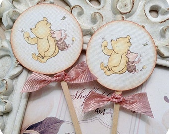 Classic Winnie the Pooh and Piglet Cupcake Toppers-Set of 10 - Pooh Topper-Pooh Birthday Party-Pooh Baby Shower-Vintage Pooh-Piglet Topper