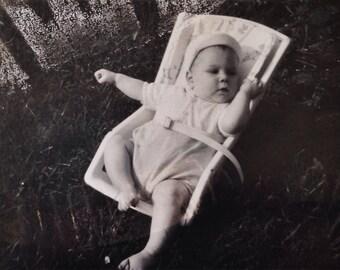 Original Antique Photograph Baby Eric Rock Away