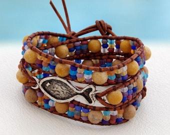 Nemo... Leather wrap bracelet... Beaded Triple Wrap Bracelet. Original OceanBead Style.