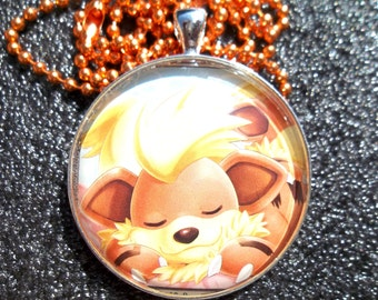1.5 inch Diameter Growlithe - Sleepy Time - HOLO Rare Glass Pendant Charm made from Trading Cards