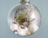 Deer Winter Scene Glass Ornament