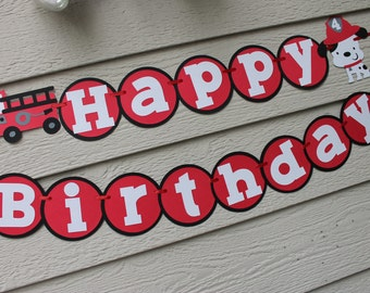 Fire Truck Dalmation Happy Birthday Banner Red Gray Black Can Personalize With Name Bunting Garland