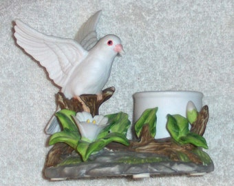 Vintage Signed Dove Figurine Porcelain Tea Light Candle Holder Royal Carleton Bird