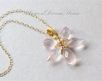 Gemstone Flower Necklace, Rose Quartz Faceted Chandelier and Dew Drop Briolettes, Gold-filled Wire, Gold-filled Chain. Nature Inspired. N204