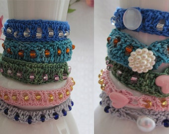 Glass beats crochet bracelet