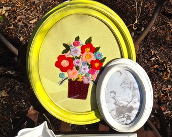 Oval Frame, Syroco Frame, Boho Chic Bohemian, Floral Embroidery Needlepoint, Floral Funky Eclectic Artsy, Bright Colorful Retro Yellow Frame
