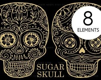 Day of the Dead, Sugar Skull Doodle Clip Art, PNG Lineart, Instant Download, Dia de los Muertos, Mexican Culture, Tattoo, Clipart, Festival