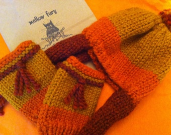 Wool Blend Firefly Inspired Cunning Hat and Cunning Fingerless Gloves