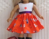 Clemson University Doll Dress made with NCAA Licensed fabric for all 18inch dolls, like the American Girl