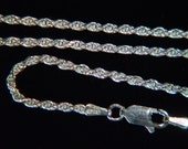 """Fine Italian 20"""" 040 - 2.1MM, 925 Solid Sterling Silver Necklace Chain, Fancy Rope Style, Lobster Clasp  *91SS4020"""