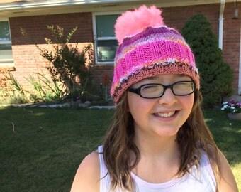 Pom-Pom Hat - Pink and White - Children's PomPom Beanie