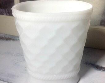 Vintage Diamond Patterned Milk Glass Vase