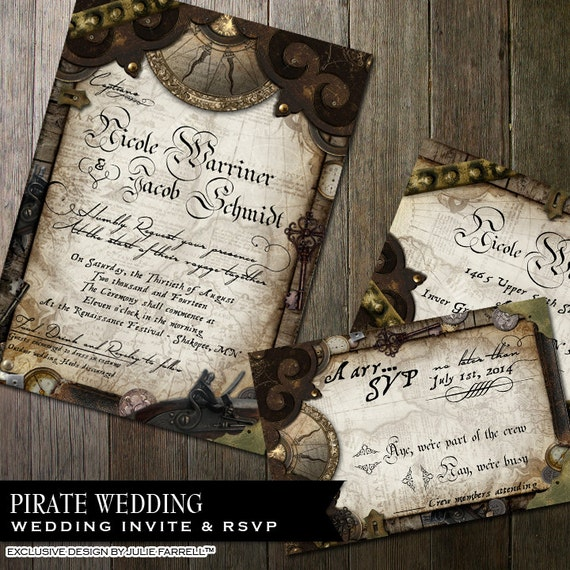 Nautical Pirate Wedding Invitation - Invite and rsvp - Digital printables or Printed - Offbeat wedding