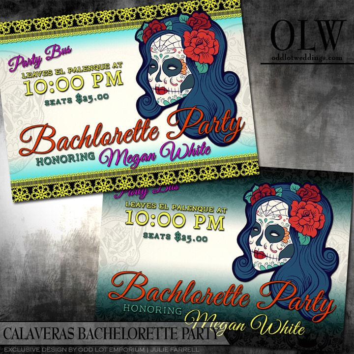 Calaveras Sugar Skull Bachelorette Party Invitation Day of the