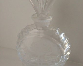 Vintage Etched Glass Perfume Bottle