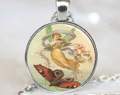 Vintage Fairy and Butterfly Pendant, Fairy Necklace, Fairy Silver Plated Pendant,  (PD0470)