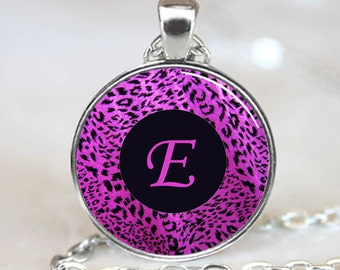 Letter E - Purple Leopard Print Monogram Handcrafted  Necklace  Pendant with Ball Chain Included (PD0083)