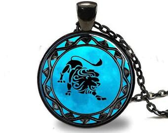 Leo Pendant , Leo Zodiac Pendant , Leo zodiac Necklace , Black (PD0318)