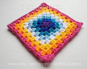Half Double Crochet Granny Square chart. Pattern No 6 of the collection of Basic Crochet Shapes, Granny Square pattern, crochet chart