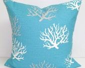 BEACH DECOR Pillow, Blue Pillow Cover, Decorative Pillow, Nautical Pillow, Coral Pillow,  All Sizes, Coral Pillow Sham, Blue Euro, Cushion