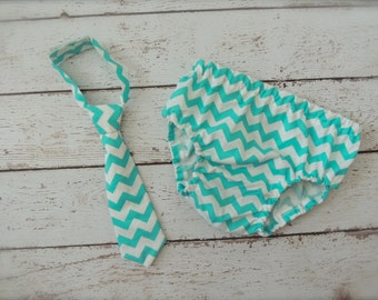 Baby Boy Tie and Diaper cover SET - Teal Chevron