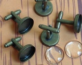 SALE - Combo- 16mm  -  24 pc Round Antique Bronze -  Bezel cufflink Blank with Glass tile inserts -  Cadmium free