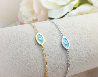 Evil Eye Bracelet - gold and white gold ( Choose your color ), simple and delicate jewelry - EK2001