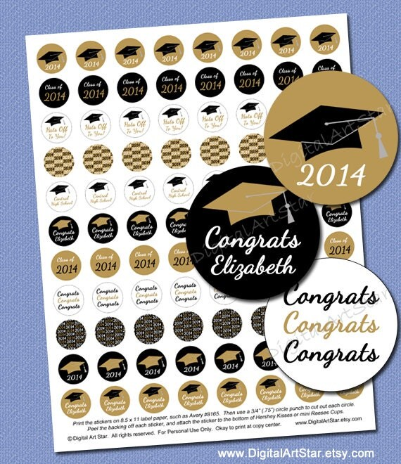 personalized graduation candy stickers printable by digitalartstar. Black Bedroom Furniture Sets. Home Design Ideas