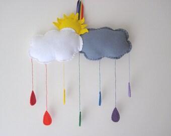 PDF PATTERN: Felt Rainbow Cloud Nursery Mobile Sewing Tutorial - Nursery Decor Felt DIY Decoration - Baby Room Accessory