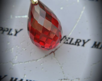 AAA Silver Plated Drop Pendant With Red Cubic Zirconia