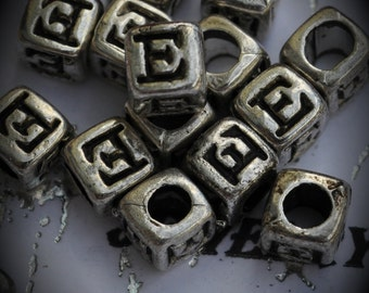 Letter E Sterling Silver Plated Bead