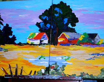 Landscapes-2 16x20 original, signed, acrylic paintings-very colorful