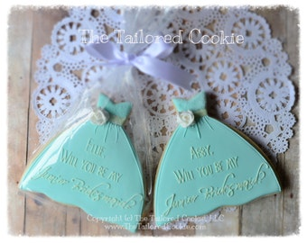 Will You Be My Bridesmaid Will You Be My Maid Of Honor, Decorated Wedding Party Cookies, Personalized, Flower Flower Girl Cookie FAVORS