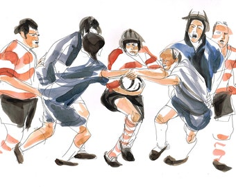 Rugby Game Watercolor Drawing - Original