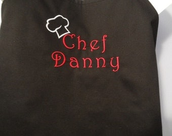 Men's Chef Style Apron Embroidered with saying of your choice or Personalized - various colors Birthday, Father's Day, BBQ
