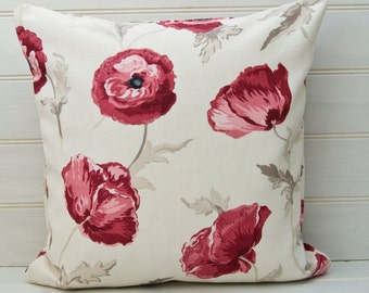 Red Floral Cushion Cover - throw pillow cover -  18x18ins Cotton Linen Fabric - Made in the UK