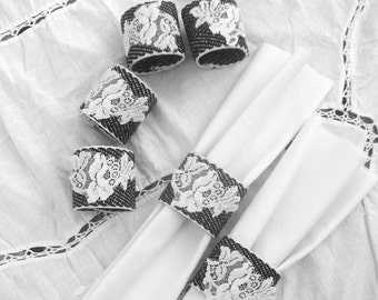 Black and White Napkin Rings with Appliqued  White Vintage  Lace - set of six